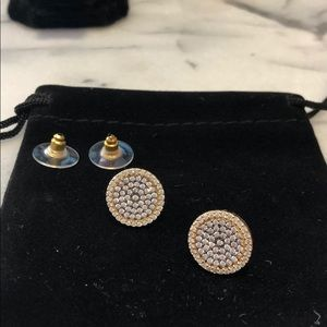 Two Tone Pavé Cubic Zirconia Disk Earrings,NWT